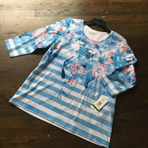 NWT Allison Daley 3/4 sleeve print PL shirt